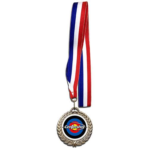 Centershot Target Antique Medal with Neck Ribbon Antique Gold