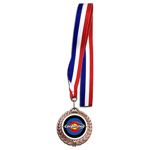 Centershot Target Antique Medal with Neck Ribbon Antique Bronze