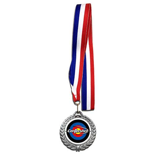 Centershot Target Antique Medal with Neck Ribbon Antique Silver