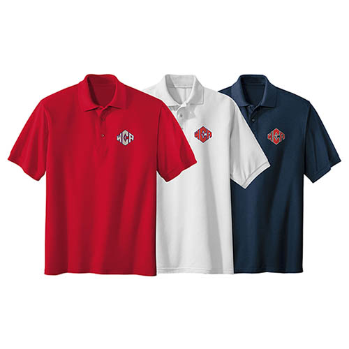 WCA Silk Touch Blend Polos Red White And Navy Color