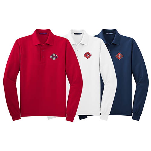 WCA Silk Touch Long Sleeve Blend Polos Red White And Navy Color