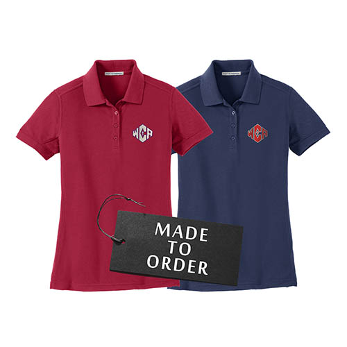 WCA Ladies 5 in 1 Performance Pique Polos Navy And White Color