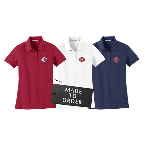 WCA Ladies Silk Touch Polos Red White And Navy Color