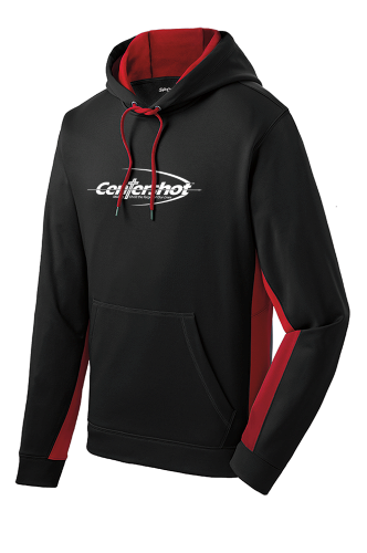 Sport Tek Sport Wick CamoHex Fleece Colorblock Hooded Pullover Black Deep Red Color