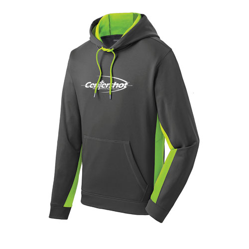 Sport Tek Sport Wick CamoHex Fleece Colorblock Hooded Pullover Dark Smoke Grey Lime Shock color