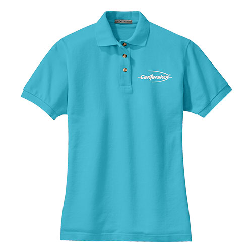 Port Authority Ladies Heavyweight Cotton Pique Polo Light Blue