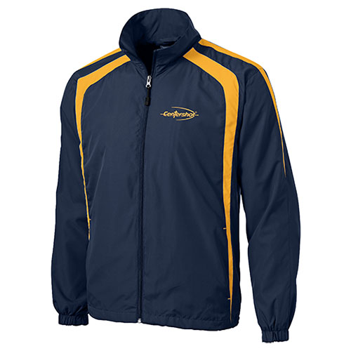 Sport Tek Colorblock Raglan Jacket.True Navy Gold