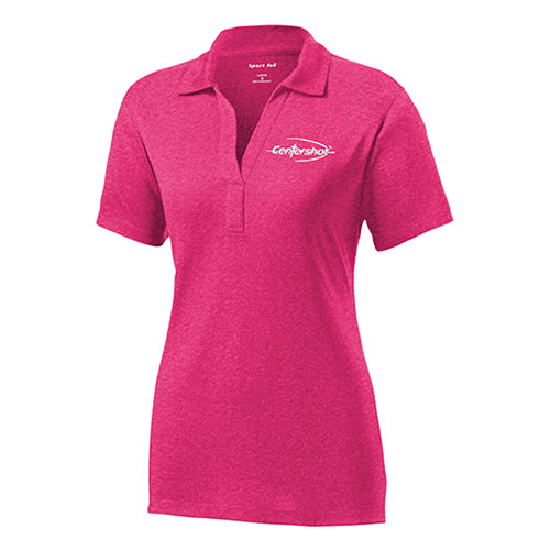 Sport Tek Ladies Heather Contender Polo Pink Raspberry Heather Color