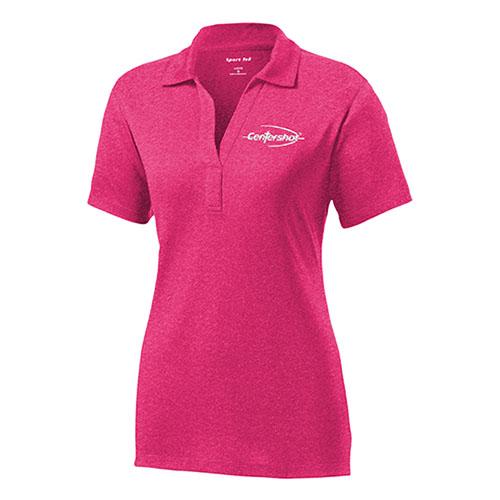 Sport Tek Ladies Heather Contender Polo Pink Raspberry Heather Color