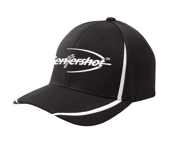 Sport Tek Flexfit Performance Colorblock Cap Black White Color