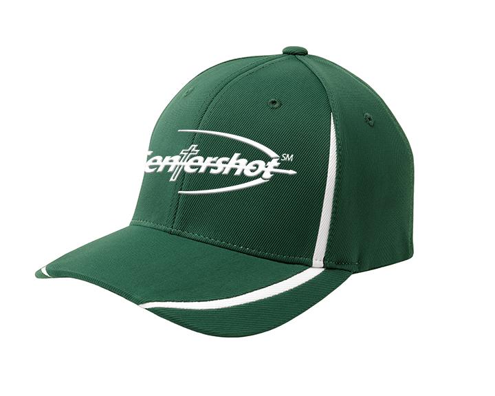 Sport Tek Flexfit Performance Colorblock Cap Forest Green White Color