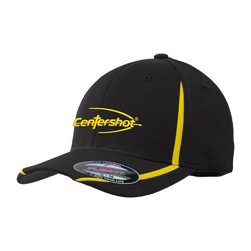Sport Tek Flexfit Performance Colorblock Cap Black Yellow Color