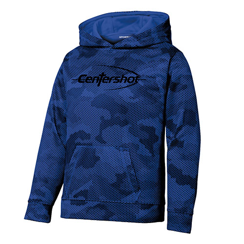 Sport Tek Youth Sport Wick CamoHex Fleece Hooded Pullover True Royal Color