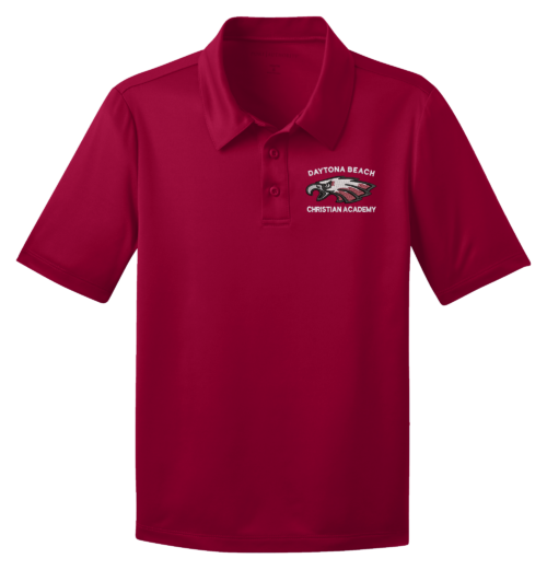 DBCA Youth Silk Touch Performance Polos Red